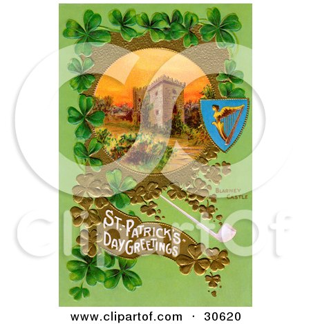 Clipart Illustration of a Vintage Victorian St Patrick's Day Scene Of Ireland's Blarney Castle Surrounded By Gold And Green Clovers, Circa 1910 by OldPixels
