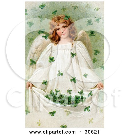 Clipart Illustration of a Vintage Victorian St Patrick's Day Scene Of A Beautiful Young Irish Angel Holding Up Her Gown To Catch Falling Clovers, Circa 1909 by OldPixels