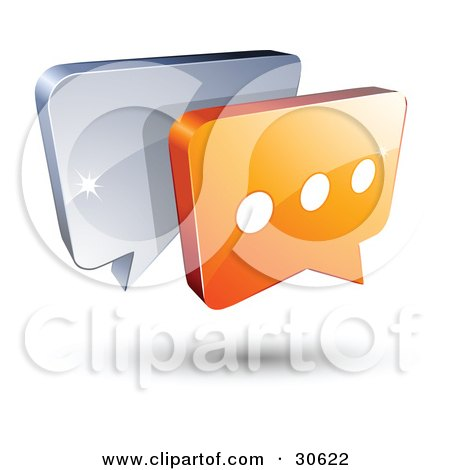 Clipart Illustration of a Pre-Made Logo Of Gray And Orange Chat Windows by beboy
