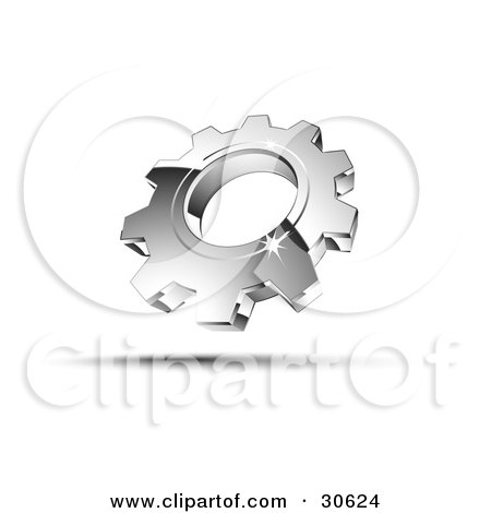 Clipart Illustration of a Pre-Made Logo Of One Shiny Silver Cog by beboy