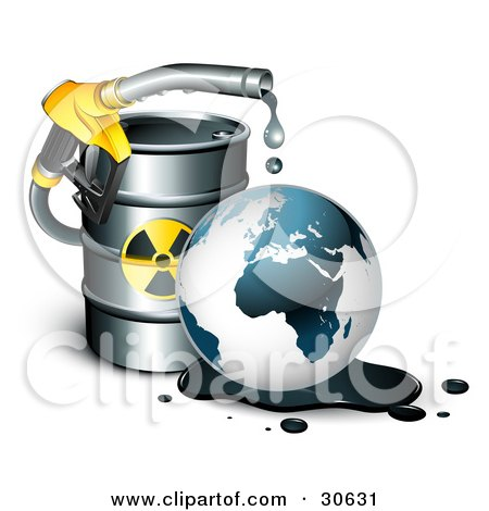 Yellow Petrol Nozzle Dripping Oil Over The Earth In Front Of A Barrel Of Gas Posters, Art Prints