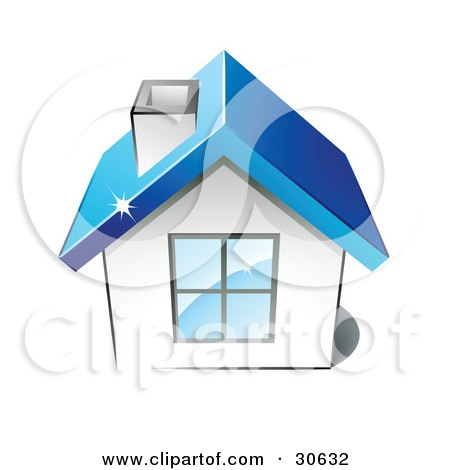 Clipart Illustration of a Little White House With A Big Window, Chimney And Blue Roof by beboy