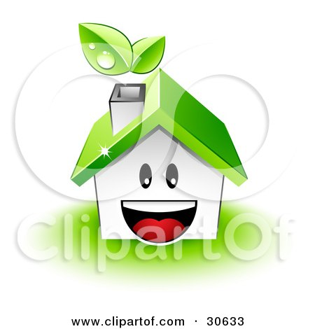 Clipart Illustration of a Happy House Character With A Green Roof And Leaves Emerging From The Chimney by beboy