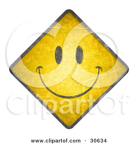 Clipart Illustration of a Happy Face On A Yellow Warning Road Sign by beboy