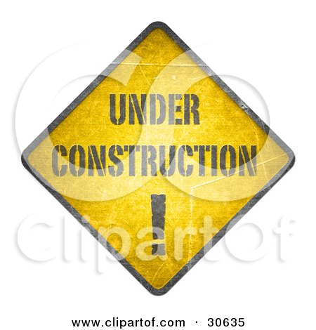 Clipart Illustration of a Yellow Warning Under Construction Sign by beboy