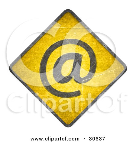 Clipart Illustration of a Yellow Warning Sign With An Email Arobase Symbol by beboy