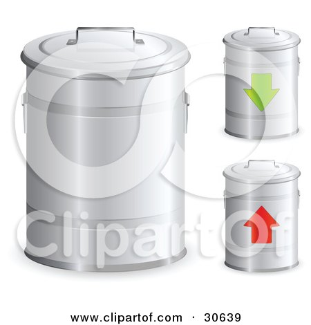 Clipart Illustration of a Set Of Three Metal Trash Bins With Handles On The Lids, One With A Green Arrow And One With A Red Arrow by beboy