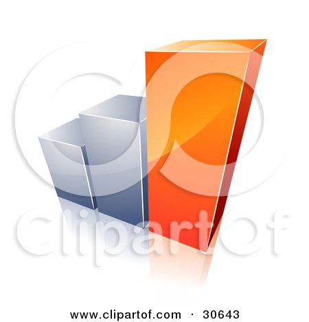 Clipart Illustration of a Bar Graph With Growing Orange And Chrome Bars by beboy