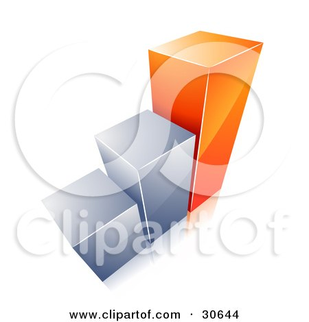 Clipart Illustration of a Growing Bar Graph With Two Chrome Bars And One Orange Bar by beboy