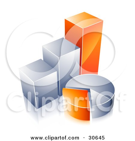 Clipart Illustration of Orange And Chrome Bar Graphs And Pie Charts by beboy