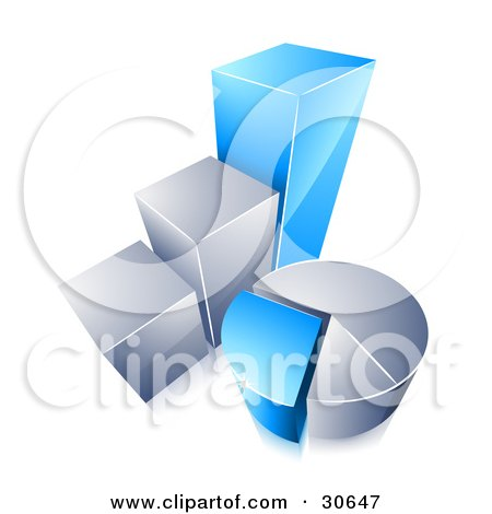 Clipart Illustration of a Blue And Chrome Bar Graph And Pie Chart by beboy