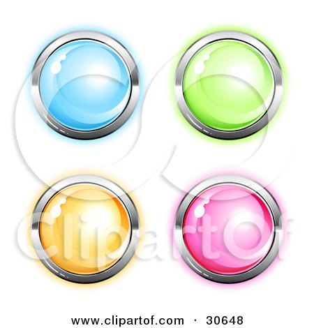 Clipart Illustration of a Set Of Four Blue, Green, Orange And Pink Round Icon Buttons Circled In Chrome by beboy