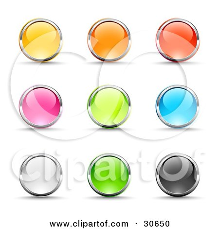 Clipart Illustration of a Set Of Nine Yellow, Pink, White, Orange, Green, Red, Blue And Black Button Icons Circled In Chrome by beboy