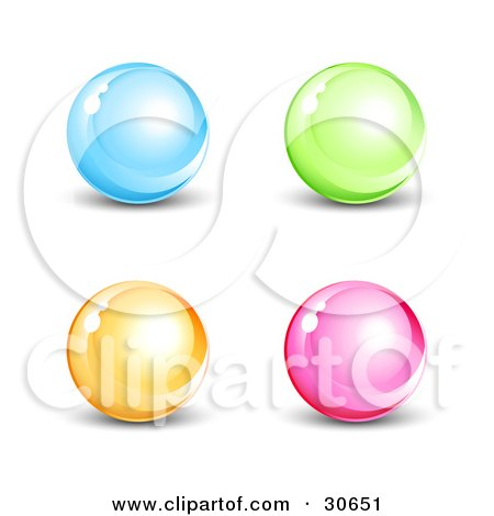 Clipart Illustration of a Set Of Four Blue, Green, Orange And Pink Shiny Marbles Or Orbs by beboy
