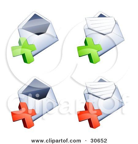 Clipart Illustration of a Set Of Four Open Envelopes With Green And Red Plus Marks by beboy