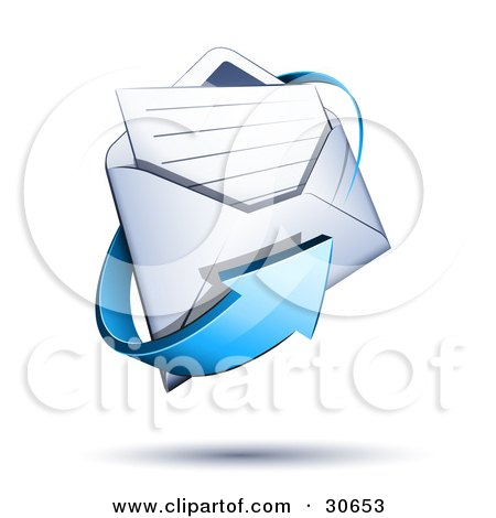 Clipart Illustration of a Blue Arrow Circling A White Envelope With A Lined Sheet Of Paper Inside by beboy