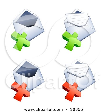 Clipart Illustration of a Set Of Four Open Envelopes With Green And Red X Marks by beboy