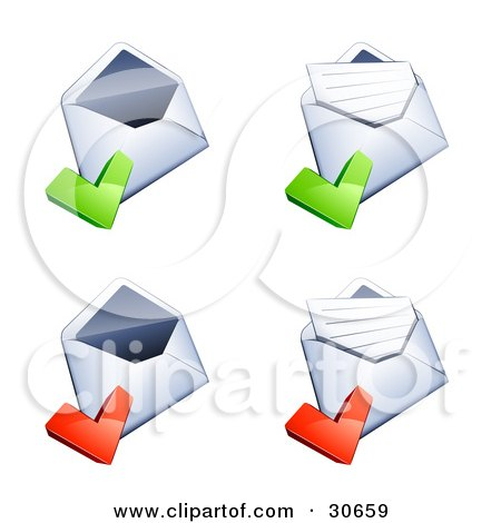 Clipart Illustration of a Set Of Four Open Envelopes With Green And Red Check Marks by beboy