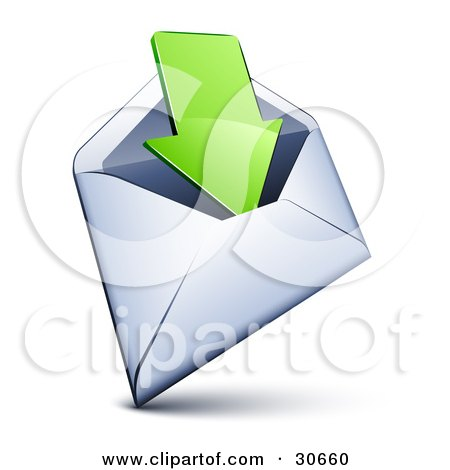 Clipart Illustration of a White Envelope With A Green Arrow Pointing Inside by beboy