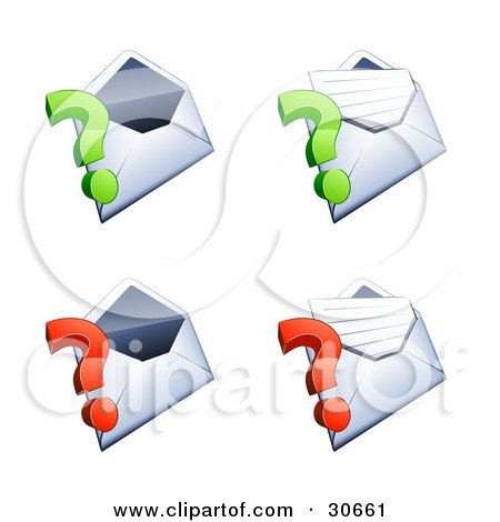 Clipart Illustration of a Set Of Four Open Envelopes With Green And Red Question Marks by beboy