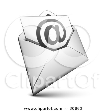 Clipart Illustration of a White Envelope With A Blue Arobase Symbol Inside by beboy