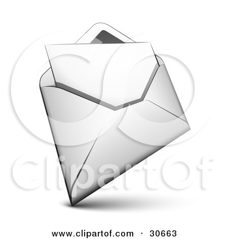 Clipart Illustration of a White Envelope With A Blank Solid Sheet Of Paper Inside by beboy