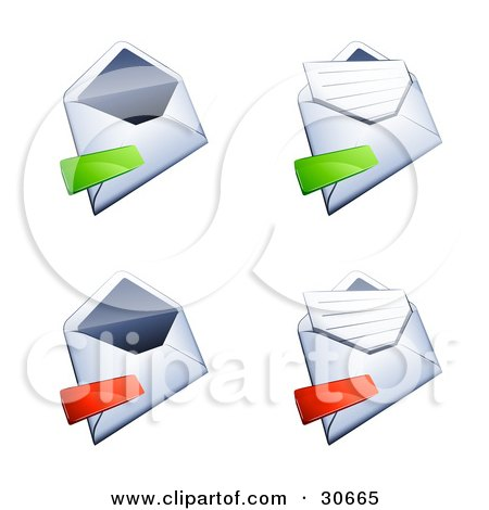 Clipart Illustration of a Set Of Four Open Envelopes With Green And Red Minus Marks by beboy