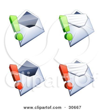 Clipart Illustration of a Set Of Four Open Envelopes With Green And Red Exclamation Points by beboy