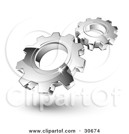 Clipart Illustration of Two New Silver Gears Spinning In Sync by beboy