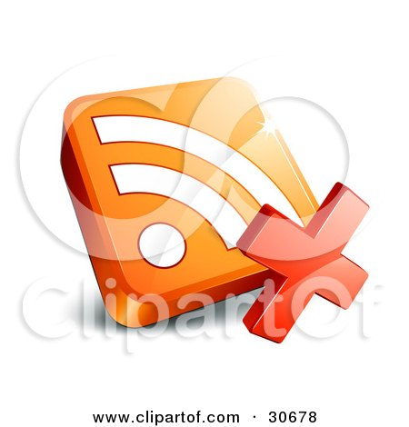 Clipart Illustration of a Red X With An Orange 3d RSS Symbol by beboy