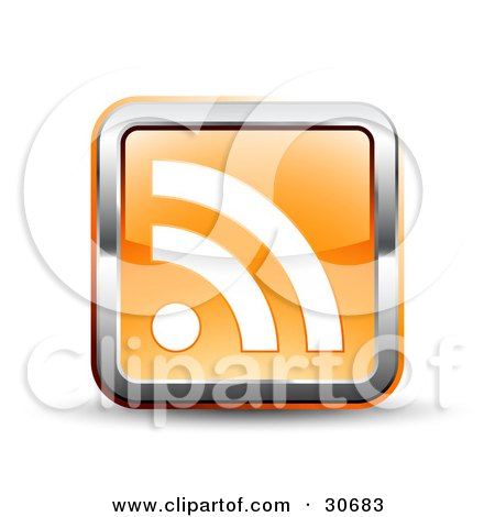 Clipart Illustration of a 3d Orange Square RSS Symbol Button With A Chrome Border by beboy