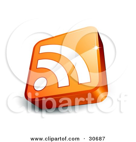 Clipart Illustration of a Tilted Orange Cube With A White RSS Symbol by beboy