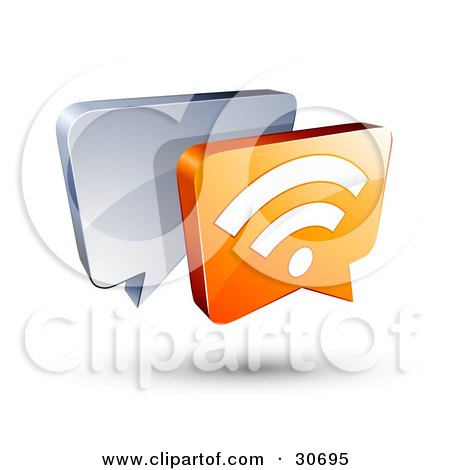 Clipart Illustration of a 3d Orange RSS Chat Box In Front Of A Blue Speech Balloon by beboy