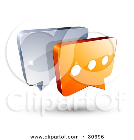 Clipart Illustration of a 3d Orange Chat Box With Three Dots In Front Of A Blue Speech Balloon by beboy