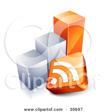 Clipart Illustration of an RSS Symbol In Front Of An Orange And Chrome Bar Graph by beboy