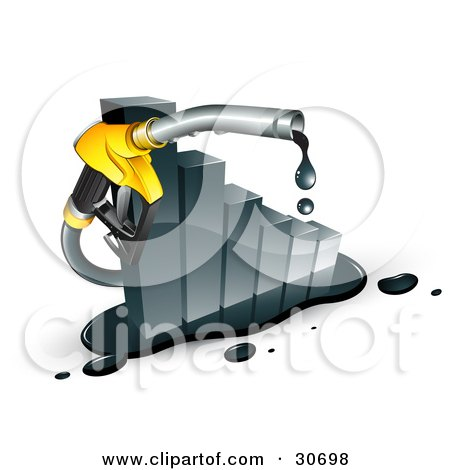Clipart Illustration of a Dripping Yellow Gasoline Pump Nozzle Emerging From A Declining Bar Graph by beboy