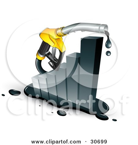 Clipart Illustration of a Dripping Yellow Petrol Pump Nozzle Emerging From A Black Increasing Bar Graph by beboy
