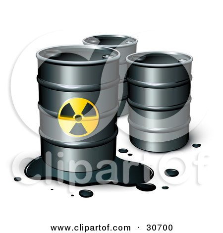 Clipart Illustration of a Leaking Barrel Of Petrol In Front Of Two Unmarked Barrels by beboy