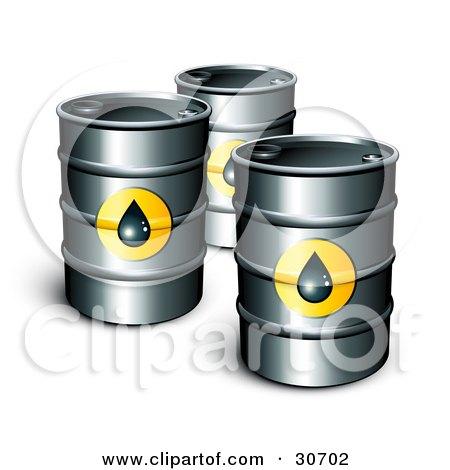 Three Petrol Barrels Of Gasoline With Oil Symbols Posters, Art Prints