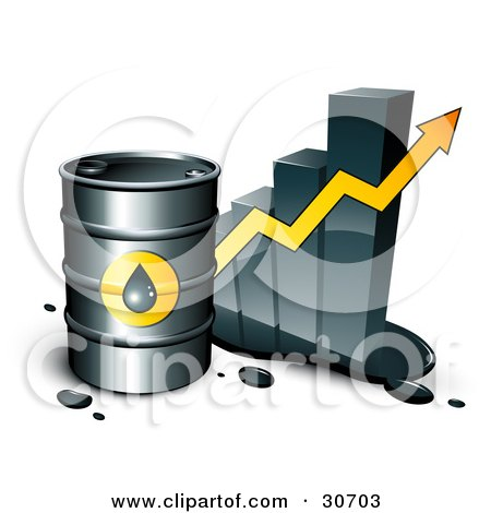 Clipart Illustration of a Barrel Of Gasoline And Yellow Arrow In Front Of A Bar Graph Depicting A Steady Incline by beboy