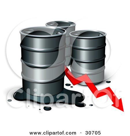 Three Unmarked Barrels Of Oil With A Spill And A Red Arrow Showing A Decrease Of Gasoline Consumption Or In Cost Posters, Art Prints