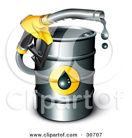 Yellow Petrol Nozzle Emerging From A Barrel Of Gasoline, Dripping Oil Posters, Art Prints