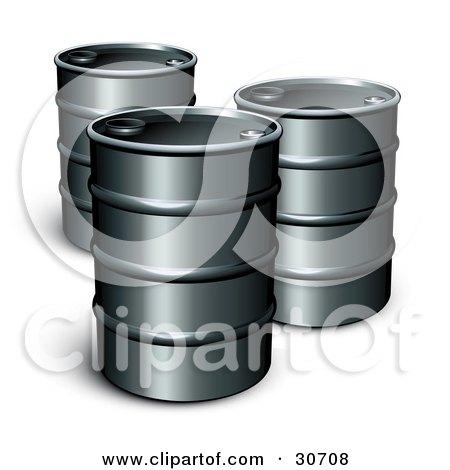Clipart Illustration of Three Unmarked Barrels Of Gasoline  by beboy