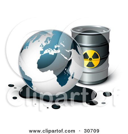 Clipart Illustration of Earth's Oil Draining Onto The Ground In Front Of A Barrel Of Gasoline by beboy