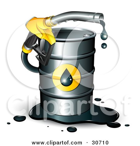 Yellow Dripping Petrol Nozzle Emerging From A Barrel Of Gasoline Posters, Art Prints