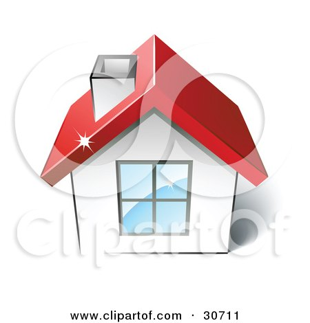 Clipart Illustration of a Little White House With A Big Window, Chimney And Red Roof by beboy