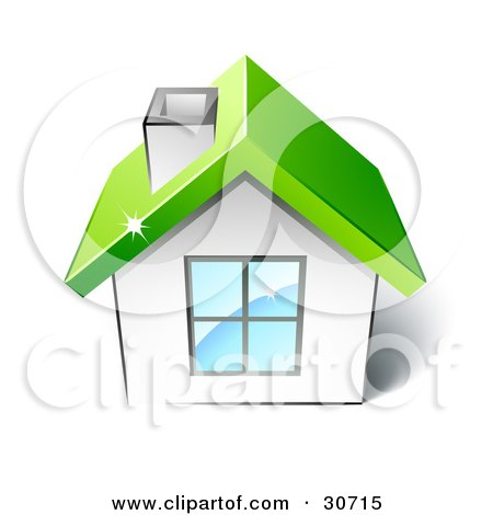 Clipart Illustration of a Little White House With A Big Window, Chimney And Green Roof by beboy