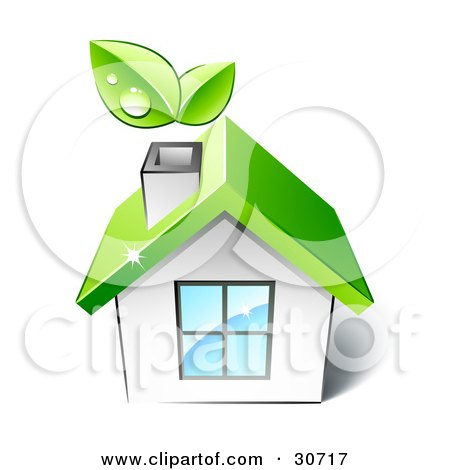 Clipart Illustration of Leaves Above The Chimney Of A Little White House With A Big Window And Green Roof by beboy