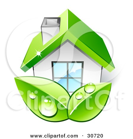 Clipart Illustration of Two Big Green Organic Dewy Leaves In Front Of A Home With A Green Roof by beboy