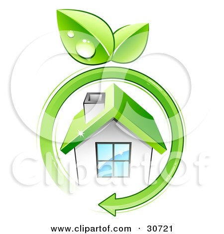 Clipart Illustration of a Green Arrow With Dewy Leaves Circling A Small White Eco Friendly Home With A Green Roof by beboy